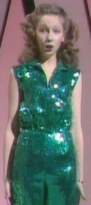 Lena Zavaroni Wearing A Green Cat Suit