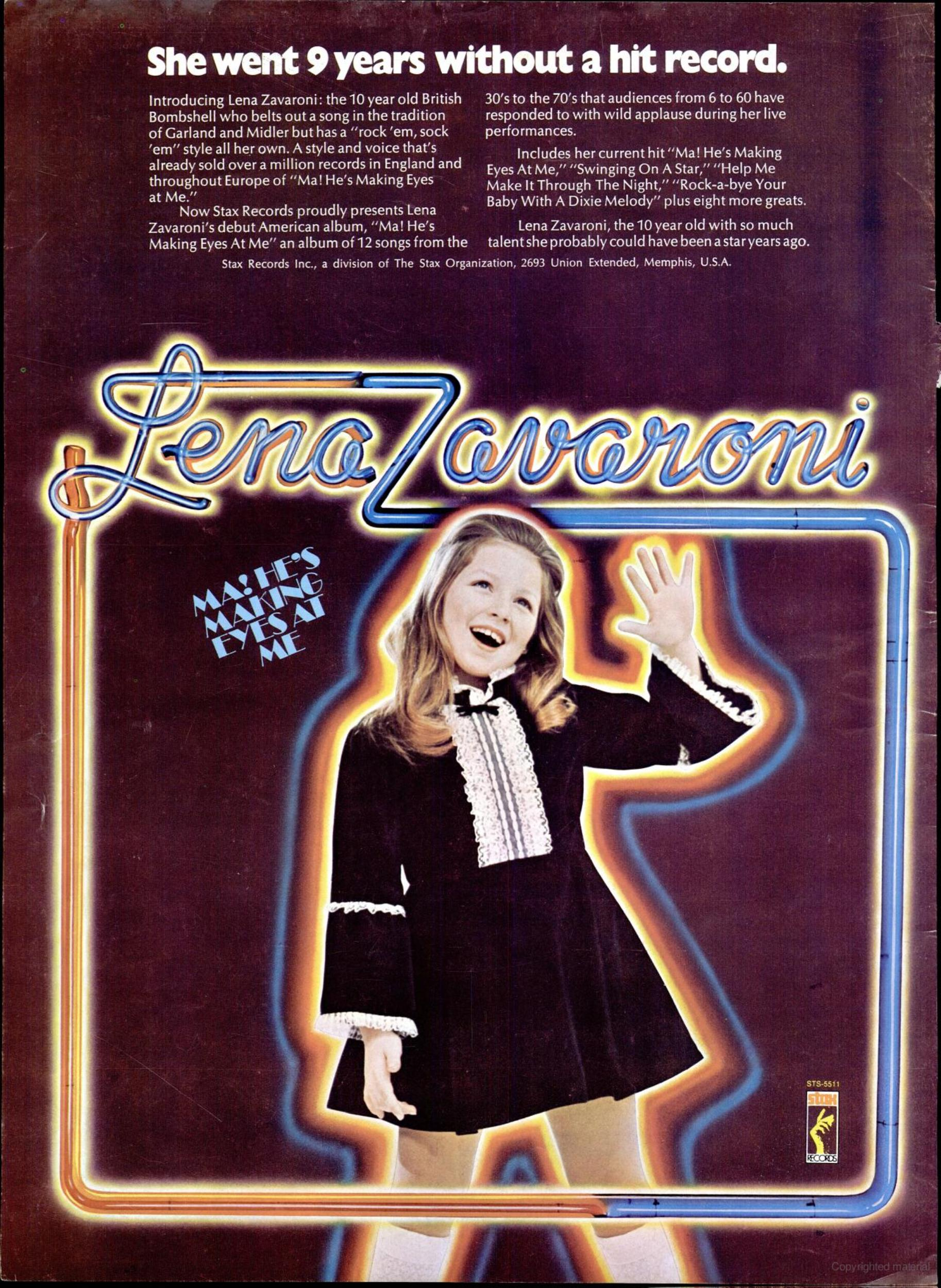 full page advert for the Stax release of Lena Zavaroni's LP Ma! He's Making Eyes at me